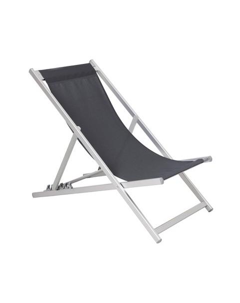 Плажен стол алуминиев - 5 позиции - Сив