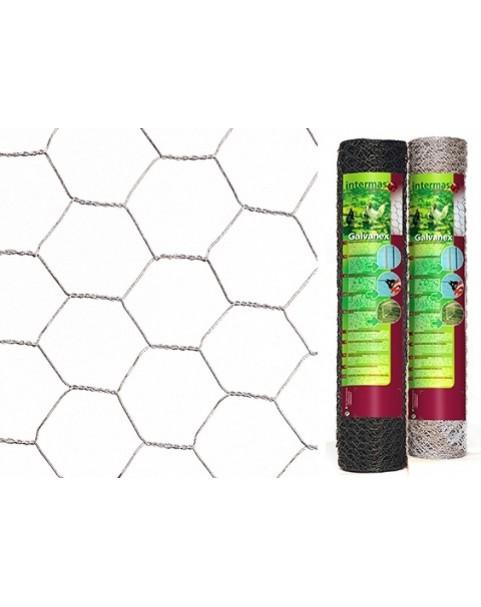 Nortene - Оградна мрежа Galvanex Plast 30 шестоъгълна - 0.5 х 25 м