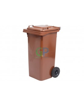 Пластмасова кофа за смет с колела 120 л. - кафява