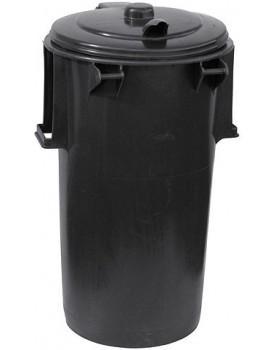 Традиционна пластмасова кофа за смет 110L цвят  черен