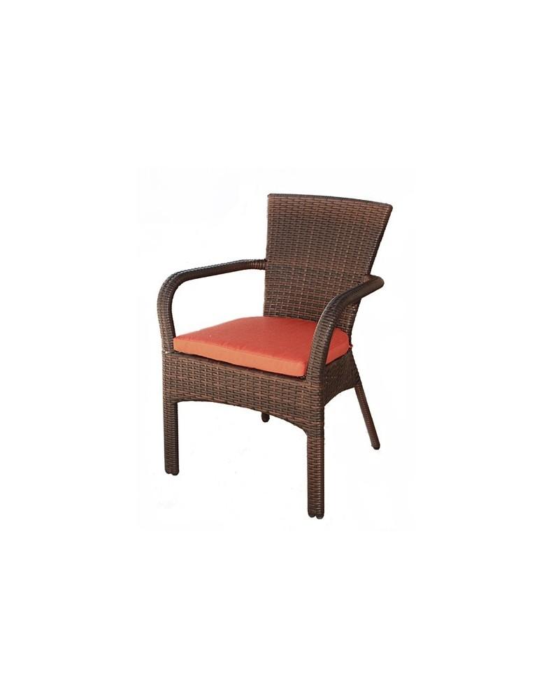 Градински стол ратан с подлакътник и възглавница кафяв C119
