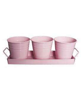 Feronya - Комплект 3бр. саксии на поставка розови 5410-3
