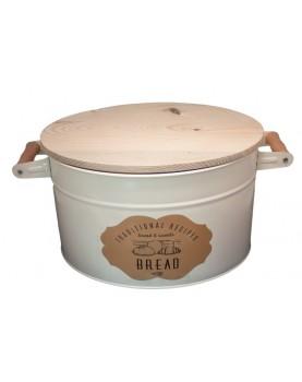 Feronya - Метална кутия за съхранение на хляб с дървен капак - крем