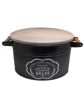 Feronya - Метална кутия за съхранение на хляб с дървен капак - черна