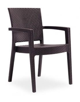 "Novussi - Стол с подлакътник ""PARIS RATTAN"" кафяв (R006)"