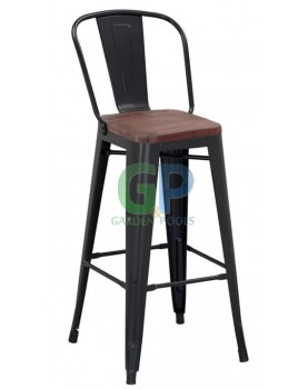 Antique - Бар стол 46x44x117,5cm - метал,дърво черен мат (M630C)
