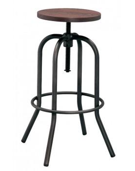 Antique - Бар стол на винт 40x40x70-86cm метал дърво черен мат (M507H)