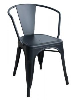 Antique - Метален стол 48x51x74cm. с подлакътник черен мат (818D)