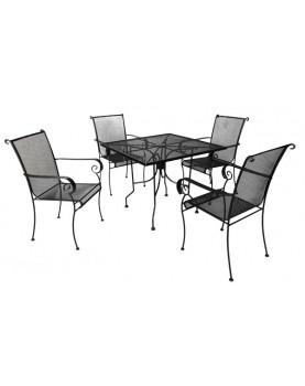 Комплект от маса и четири стола ковано желязо PORTO (FA27/WT)
