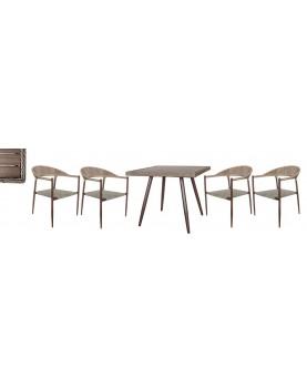 Polywood Natural - Бистро сет от квадратна маса и 4 стола с текстил