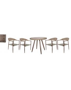 Polywood Natural - Бистро сет от кръгла маса и 4 стола с текстил