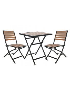 Polywood Natural - Сгъваем сет от квадратна маса и 2 стола