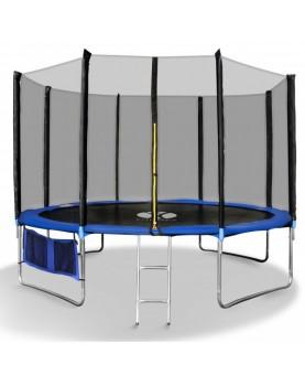Fitkraft - Детски батут с мрежа и стълба 366см