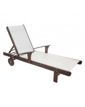 Дървен шезлонг с подлакътник и текстил - 200 x 72 x 51 см