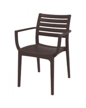 Градински стол с подлакътник Artemis - Кафяв