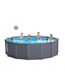 Intex - Сглобяем басейн със странични плоскости в цвят графит: диаметър 4.78 м x 1.24 м.