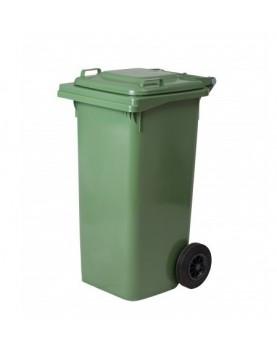Пластмасова кофа за смет с колела 120 л. - зелена